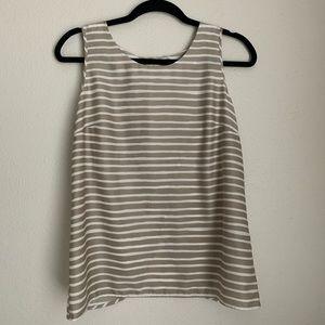 JCREW split back striped tank blouse